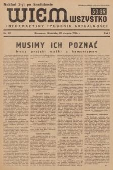 Wiem Wszystko : informacyjny tygodnik aktualności. 1936, nr32 (nakład drugi po konfiskacie)