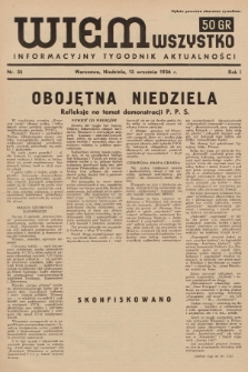 Wiem Wszystko : informacyjny tygodnik aktualności. 1936, nr35 (nakład drugi po konfiskacie)