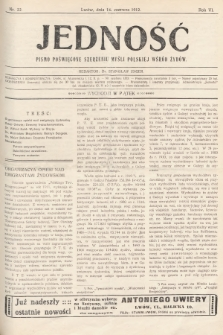 Jedność : pismo poświęcone szerzeniu myśli polskiej wśród Żydów. 1912, nr22