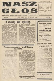 Nasz Głos : niezależny organ żydowski Podhala i Podkarpacia. 1938, nr2