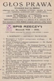 Głos Prawa : wychodzi raz na miesiąc. 1931, spis rzeczy
