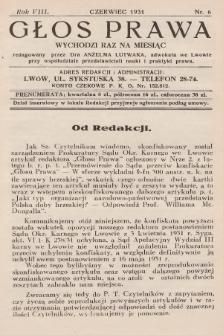 Głos Prawa : wychodzi raz na miesiąc. 1931, nr6