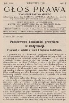 Głos Prawa : wychodzi raz na miesiąc. 1931, nr8