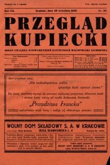 Przegląd Kupiecki : organ Związku Stowarzyszeń Kupieckich Małopolski Zachodniej. 1929, nr37