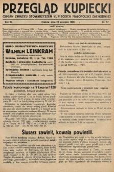 Przegląd Kupiecki : organ Związku Stowarzyszeń Kupieckich Małopolski Zachodniej. 1928, nr37