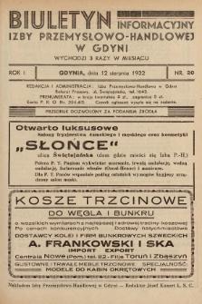 Biuletyn Informacyjny Izby Przemysłowo-Handlowej w Gdyni. 1932, nr20