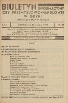 Biuletyn Informacyjny Izby Przemysłowo-Handlowej w Gdyni. 1932, nr23