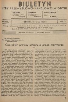 Biuletyn Izby Przemysłowo-Handlowej w Gdyni. 1935, nr7