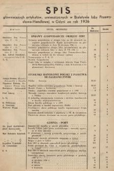 Biuletyn Izby Przemysłowo-Handlowej w Gdyni. 1936, spis główniejszych artykułów, umieszczonych w Biuletynie Izby Przemysłowo-Handlowej w Gdyni za rok 1936