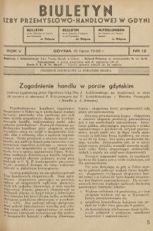Biuletyn Izby Przemysłowo-Handlowej w Gdyni. 1936, nr19