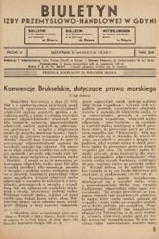 Biuletyn Izby Przemysłowo-Handlowej w Gdyni. 1936, nr24