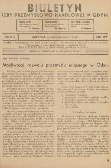 Biuletyn Izby Przemysłowo-Handlowej w Gdyni. 1936, nr27