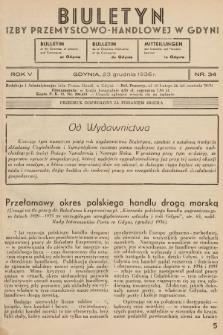 Biuletyn Izby Przemysłowo-Handlowej w Gdyni. 1936, nr34