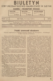 Biuletyn Izby Przemysłowo-Handlowej w Gdyni : handel i transport morski. 1938, nr9