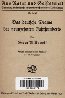 Das deutsche Drama des neunzehnten Jahrhunderts