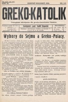 Greko - Katolik : czasopismo miesięczne dla grecko-katolickich Polaków. 1935, nr8-9