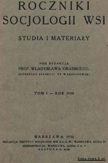 Roczniki Socjologii Wsi : studia i materiały. 1936