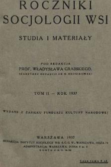 Roczniki Socjologii Wsi : studia i materiały. 1937