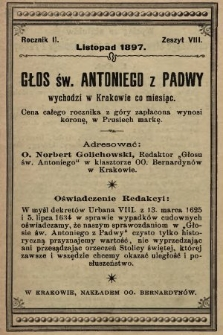 Głos Św. Antoniego z Padwy. 1897, nr8