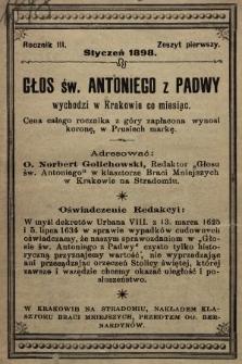 Głos Św. Antoniego z Padwy. 1898, nr1