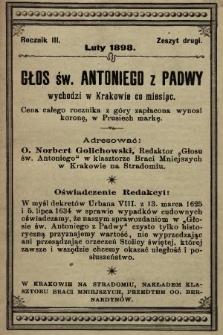 Głos Św. Antoniego z Padwy. 1898, nr2