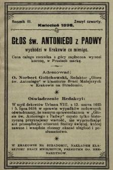 Głos Św. Antoniego z Padwy. 1898, nr4