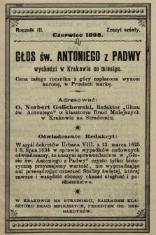 Głos Św. Antoniego z Padwy. 1898, nr6