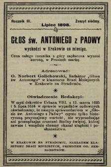 Głos Św. Antoniego z Padwy. 1898, nr7
