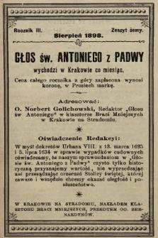 Głos Św. Antoniego z Padwy. 1898, nr8