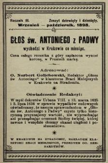 Głos Św. Antoniego z Padwy. 1898, nr9 i 10