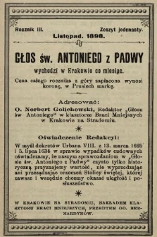 Głos Św. Antoniego z Padwy. 1898, nr11