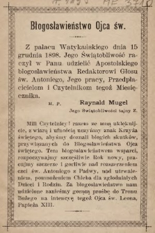 Głos Św. Antoniego z Padwy. 1899, nr1