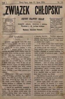 Związek Chłopski : jedyny prawny organ stronnictwa chłopskiego : pismo polityczne, ekonomiczne i społeczne. 1894, nr10