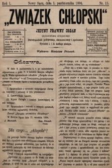Związek Chłopski : organ stronnictwa chłopskiego. 1894, nr15