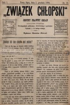 Związek Chłopski : organ stronnictwa chłopskiego. 1894, nr19