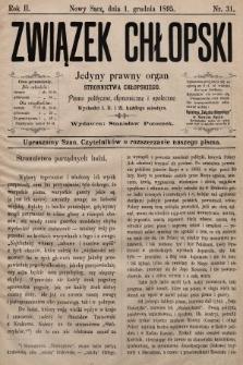 Związek Chłopski : organ stronnictwa chłopskiego. 1894, nr31