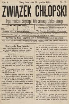 Związek Chłopski : organ stronnictwa chłopskiego i klubu sejmowego katolicko-ludowego. 1898, nr35
