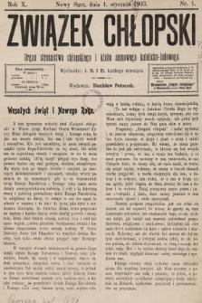 Związek Chłopski : organ stronnictwa chłopskiego i klubu sejmowego katolicko-ludowego. 1903, nr1