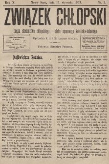Związek Chłopski : organ stronnictwa chłopskiego i klubu sejmowego katolicko-ludowego. 1903, nr2