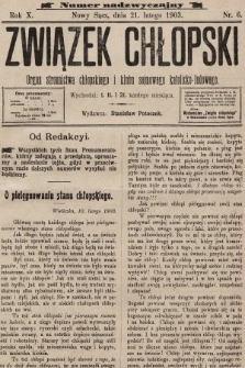 Związek Chłopski : organ stronnictwa chłopskiego i klubu sejmowego katolicko-ludowego. 1903, nrnadzwyczajny