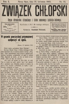 Związek Chłopski : organ stronnictwa chłopskiego i klubu sejmowego katolicko-ludowego. 1903, nr12