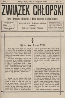 Związek Chłopski : organ stronnictwa chłopskiego i klubu sejmowego katolicko-ludowego. 1903, nr21