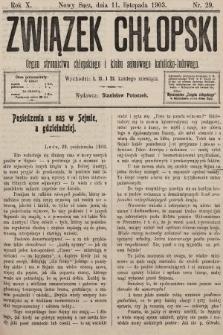 Związek Chłopski : organ stronnictwa chłopskiego i klubu sejmowego katolicko-ludowego. 1903, nr29