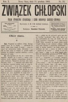 Związek Chłopski : organ stronnictwa chłopskiego i klubu sejmowego katolicko-ludowego. 1903, nr32