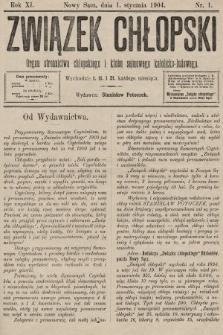Związek Chłopski : organ stronnictwa chłopskiego i klubu sejmowego katolicko-ludowego. 1904, nr1