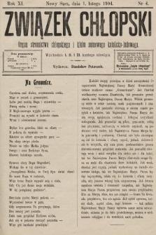 Związek Chłopski : organ stronnictwa chłopskiego i klubu sejmowego katolicko-ludowego. 1904, nr4