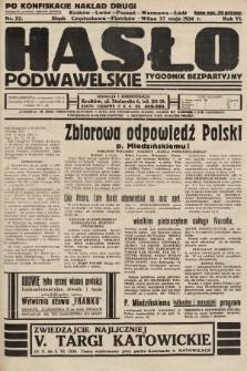 Hasło Podwawelskie : tygodnik bezpartyjny. 1934, nr22