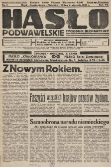 Hasło Podwawelskie : tygodnik bezpartyjny. 1935, nr1