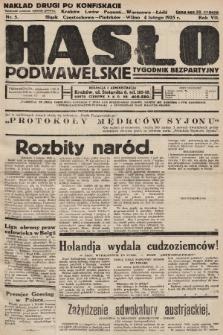 Hasło Podwawelskie : tygodnik bezpartyjny. 1935, nr5