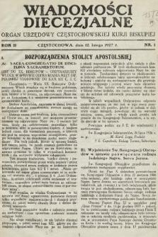 Wiadomości Diecezjalne : organ urzędowy Częstochowskiej Kurji Biskupiej. 1927, nr1